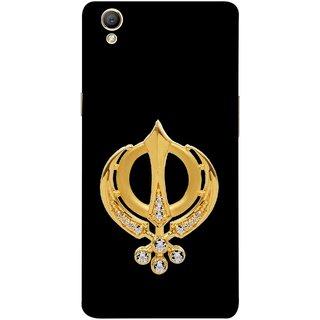 FUSON Designer Back Case Cover for Oppo A37 (Khalsa Khanda Guru Nanak Sikh Pendant Diamonds)