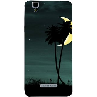 FUSON Designer Back Case Cover For YU Yureka Plus :: Yu Yureka Plus YU5510A (Coconut Trees Beautiful Moon Stars Light Evening )