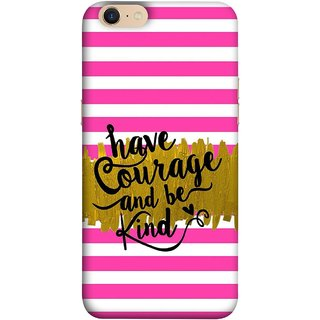 FUSON Designer Back Case Cover For Oppo A39 (Pink And White Horizontal Strips Gold Paint Black Font)
