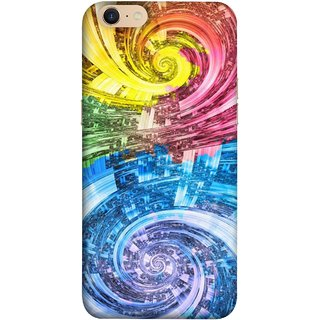 FUSON Designer Back Case Cover For Oppo A39 (Yellow Pink Blue Green Galaxy Waves Circles Sprial)