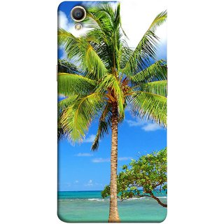FUSON Designer Back Case Cover for Oppo A37 (Palmtrees At The Beach Sea Blue Sky New Horizons )