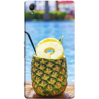 FUSON Designer Back Case Cover For Sony Xperia Z2 (5.2 Inches) (Fresh Pineapple Cocktails At Swimming Pool Blue Waters )