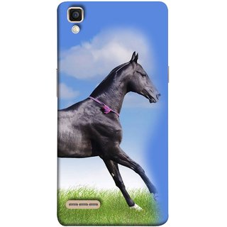 FUSON Designer Back Case Cover for Oppo F1 :: A35 (Black Horse Blue Sky Clouds Look)
