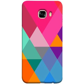 FUSON Designer Back Case Cover for Samsung Galaxy C7 SM-C7000 (Abstract Painting Colored Triangles Acrylic Painting)
