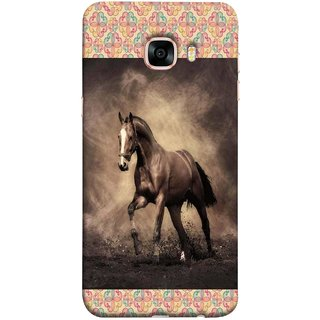 FUSON Designer Back Case Cover for Samsung Galaxy C7 SM-C7000 (Beautiful Horse Black And White Brown Canvas Wallpaper)