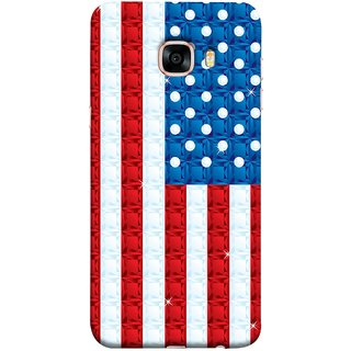 FUSON Designer Back Case Cover for Samsung Galaxy C7 SM-C7000 (United Stated Of America Flag Embroidered Stars)