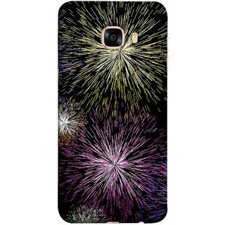 FUSON Designer Back Case Cover for Samsung Galaxy C7 SM-C7000 (Dark Night Fireworks Diwali Dipawali Flowers )