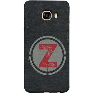 FUSON Designer Back Case Cover for Samsung Galaxy C7 SM-C7000 (Dark Alphabet Circle Vintage Grey Circle Pattern Z)