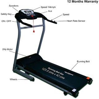 Healthgenie Drive 4012M Motorized Treadmill, Manual Incline  Max Speed 14 Kmph - 12 Months Warranty