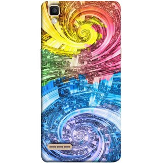 FUSON Designer Back Case Cover for Oppo F1 :: A35 (Yellow Pink Blue Green Galaxy Waves Circles Sprial)