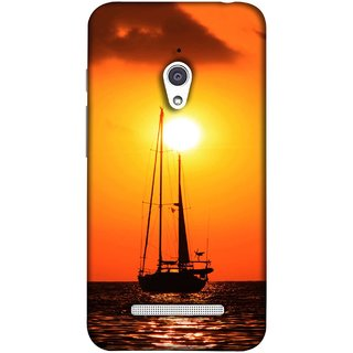 FUSON Designer Back Case Cover For Asus Zenfone Go ZC500TG (5 Inches) (Sailboat Sailing On The Beautiful Greek Sea Sunset )