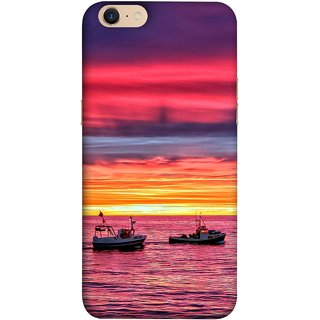 FUSON Designer Back Case Cover For Oppo A39 (Red Sky Horizon Fishing Boats Sun Shining Happy)