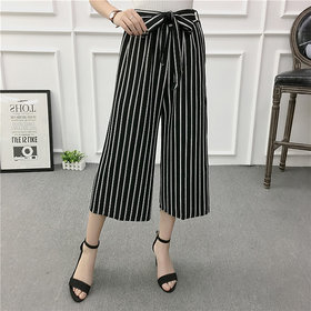Newest Style Women's Thick Lining Palazzo /Culottes / Leisure Pants /Wide Leg Pants /Stripe Bow tie Bell Bottom Pant