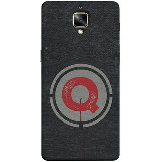 FUSON Designer Back Case Cover For Oneplus 3T (Q Is Ok Initial Red Glossy Round Icon Q Random Red)