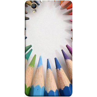 FUSON Designer Back Case Cover for Oppo A37 (Color Circle Bunch Of Pencil Boys Girls Childrens School)
