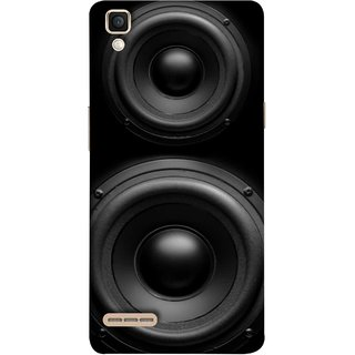 FUSON Designer Back Case Cover for Oppo F1 :: A35 ( Closeup At Moving Sub-Woofer. Speaker Part Abstract)