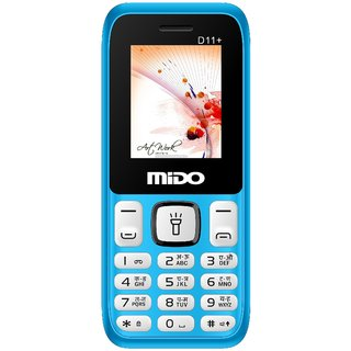 Mido D11+ BLUE WHITE Dual Sim feature Phone With Auto Call , Wireless FM