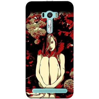 FUSON Designer Back Case Cover For Asus Zenfone Selfie ZD551KL (Photo Upset Sitting In Garden Hands Together Pub Thinking)