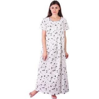 LDHSATI Fashion Women Serena Satin flower Printed Lace nightwear night dress sleepwear Maxi Nightgown for women women's free size Multicolor