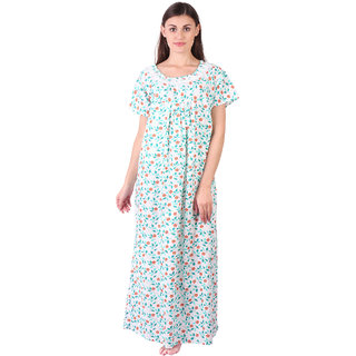 cb2b29bfd8 LDHSATI Fashion Women Serena Satin flower Printed Lace nightwear night dress  sleepwear Maxi Nightgown for women