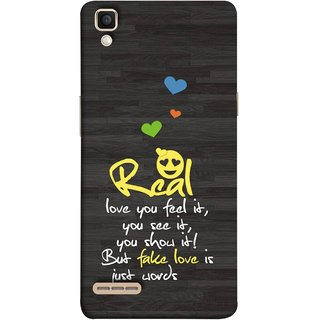 FUSON Designer Back Case Cover for Oppo F1 :: A35 (Real Love True False Love Words See It Show It )