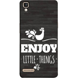 FUSON Designer Back Case Cover for Oppo F1 :: A35 (Nice Beautiful Peacock Design With Texts In White)