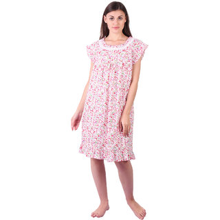 LDHSATI Fashion Women Serena Satin flower Printed Lace nightwear night dress sleepwear Maxi Nightgown for women women's free size Multicolor
