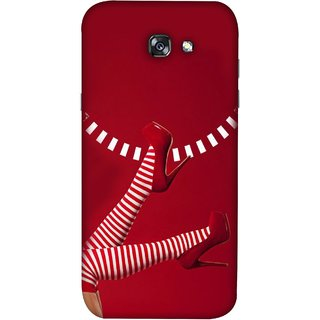 FUSON Designer Back Case Cover For Samsung Galaxy A7 2017 (High Heel Red And White Socks Beautiful Legs Girl)