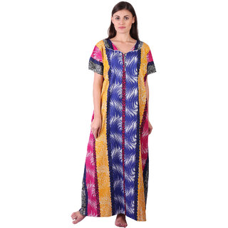 LDHSATI Fashion Women Serena Satin flower Printed Lace nightwear night dress sleepwear Maxi Nightgown for women women's free size Pink Yellow Blue Multicolor