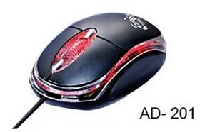 Ad-Net AD-201 Wired Optical Mouse (USB, Black) 1000 DPI With 1 Year Warranty