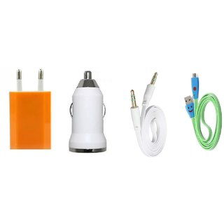 (Tricolor combo No 1 ) 4 in 1 combo of Usb Adopter, Smiley Charging Data Cable, Aux cable and car charger By KSJ