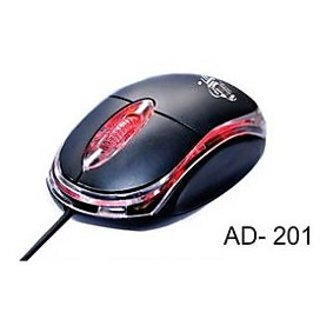 Ad Net AD 201 Wired Optical Mouse  USB, Black  1000 DPI With 1 Year Warranty