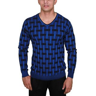 Woven Men's V-neck Black, Blue T-Shirt