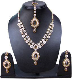 Indian traditional crystal CZ party wedding bollywood fashion jewelry necklace and earring set