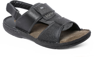 Red Chief Black Men Casual Leather Velcro Sandal (RC1358A 001)