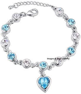 Oviya Valantine Gift Blue Heart Crystal Adjustable Bracelet For Women BR2100313RBlu