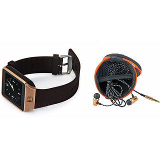 Clairbell DZ09 Smart Watch and Katori Earphone for SAMSUNG GALAXY J5(DZ09 Smart Watch With 4G Sim Card, Memory Card| Katori Earphone)