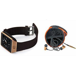 Clairbell DZ09 Smart Watch and Katori Earphone for ASUS ZENFONE MAX(DZ09 Smart Watch With 4G Sim Card, Memory Card| Katori Earphone)