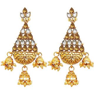 JewelMaze Austrian Stone Gold Plated Dangler Earrings-AAA4064
