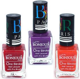 Coat Me Bonjour Paris True Color Nail Polish - Red / Purple / orange, Pack of 3 (0.90 Oz)