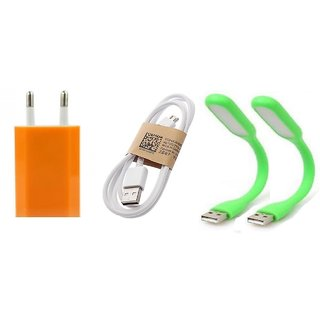 (Tricolor combo No 7 ) 4 in 1 combo of Usb Adopter, Charging Data Cable and 2 pcs Led Light by KSJ