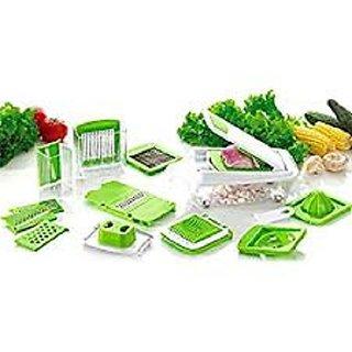 Rewa 12-Piece Round Fruit Vegetable Cutter / Dicer / Grater/ Mandoline / Nicer / Slicer / Peeler Chopper (Green)