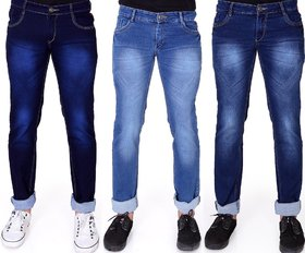 Ragzo Men's Multicolor Slim Fit Jeans (Pack of 3)