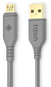 Tizum Micro USB Cable Gold Plated - High Speed, Quick Charge 2.4 Amp  Data Sync (1.2M/ 4Ft- Gray)