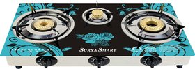 Surya Designer Stainless Steel 3 Burners Glass Automatic Gas Stove, Black and Green