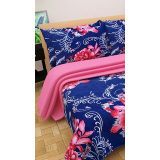 Angel homes polycotton double bedsheet with 2 pillow cover (R01)