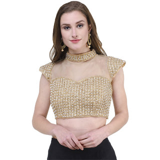 Buy Naira Couture Band Neck Pearl Golden Readymade Designer Blouse