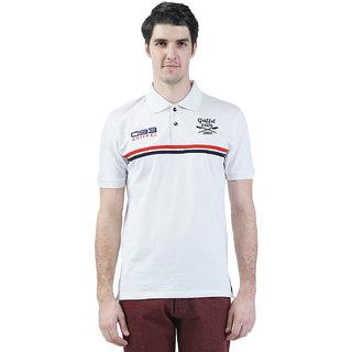 Griffel Men'S White Polo Collar T-Shirt
