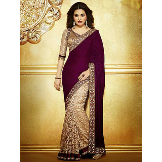4Tigers Maroon  Cream Georgette Embroidered Saree With Blouse