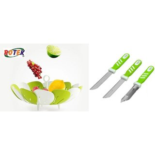 Rotek Combo of Lotus Shape Foldable Vegetable and Fruit Basket with 2 Knifes and 1 Vegetable Peeler